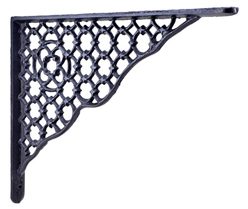 Decorative Shelf Bracket Ornate Lattice Black Cast Iron Brace 11.625""