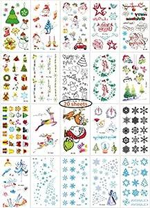 Tatuajes Temporales navideñas para niños, 20 Hojas Color Tatuajes ...