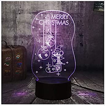 Linda iluminación led 3D Feliz Navidad Sock Bell Luces de noche ...