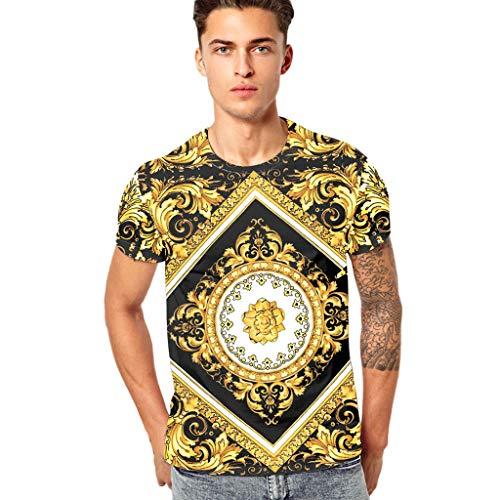Stoota Men's Funny 3D Printing Fitness Top Blouse,Elastic Short Sleeve T-Shirt -