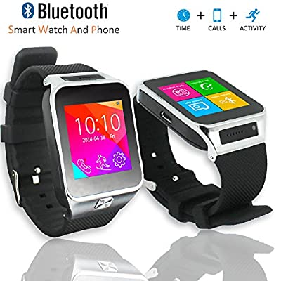 Indigi® Unlocked! GSM Multimedia Wireless Bluetooth Watch Phone MP3 Spy Camera FM Radio Pedometer Sleep Tracker (Silver)