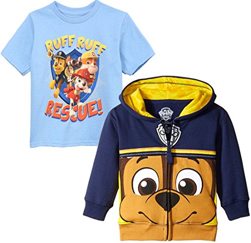 Paw Patrol Toddler Boys' Big Face Zip-up Hoodie, Chase Face Set, (Zip Up Face For Halloween)