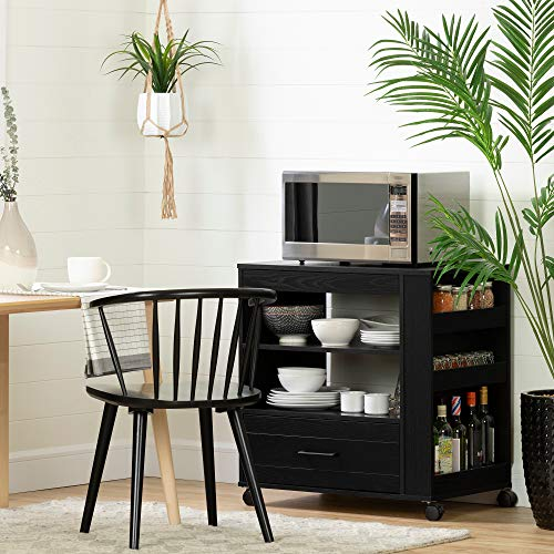South Shore 12292 Vietti Microwave Cart on Wheels, Black Oak
