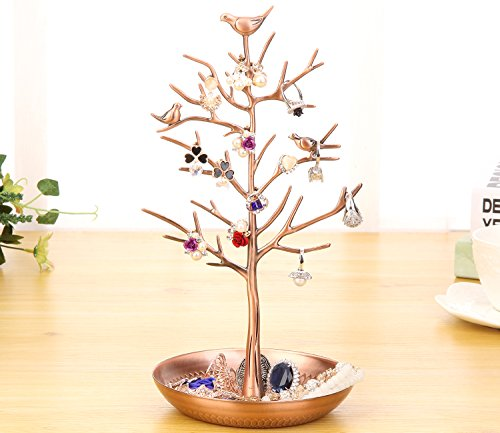 WELL-STRONG Earring Ring Holder Necklace Bird Decoration Jewelry Tower Tree for Girl Bronze by WELL-STRONG (Image #3)