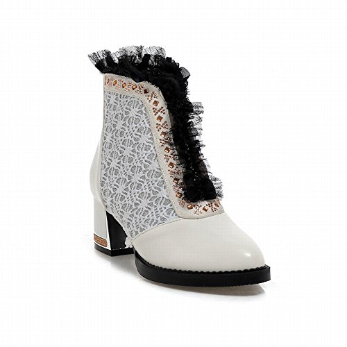 Carolbar Women's Charm Fashion Mid Heel Lace Short Dress Boots White