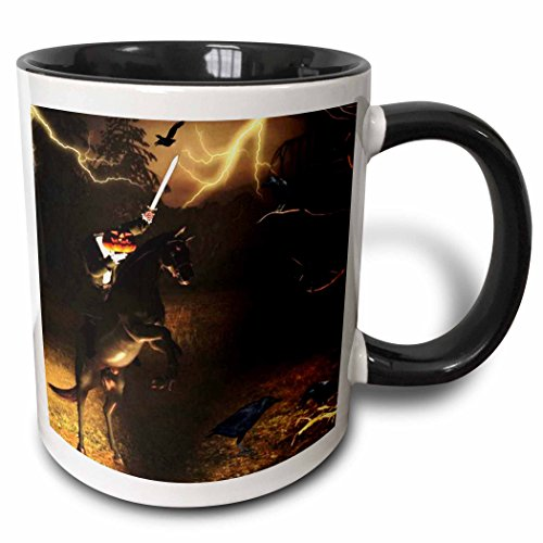 3dRose Renderly Yours Autumn And Halloween - Headless Horseman Rides In Sleepy Hollow - 11oz Two-Tone Black Mug -