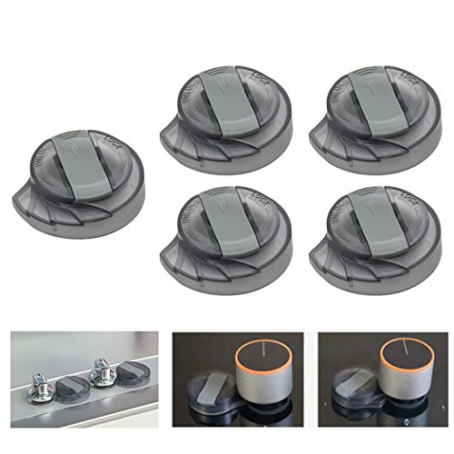 [UPGRADED] BUENAVO Universal Kitchen Stove Knob Covers Baby Safety Oven Gas Stove Knob Protection Locks for Child Proofing, 5 Pack (Dark) (Gas Stove Knobs 5)
