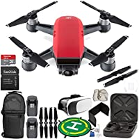 DJI Spark Portable Mini Drone Quadcopter (Lava Red) EVERYTHING YOU NEED Essential Bundle