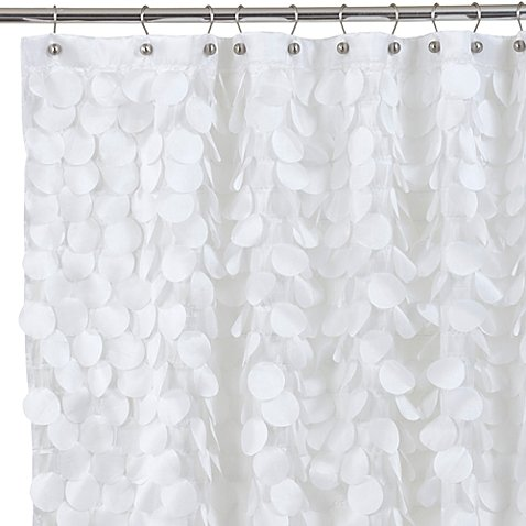 Shower Curtain Layers Of Silky, Fluttery, Circular Motifs in White