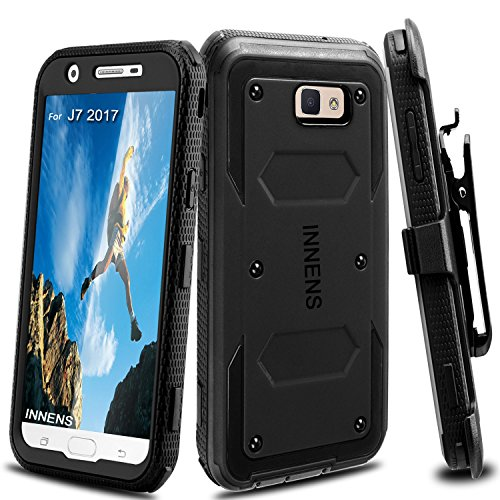 Innens Compatible Galaxy J7 V Case, J7 Sky Pro Case, J7 Perx Case, J7 Prime Case,Shockproof Hybrid Heavy Duty Protective Case Kickstand Belt Clip Compatible Samsung Galaxy Halo / J7 2017 (Black)