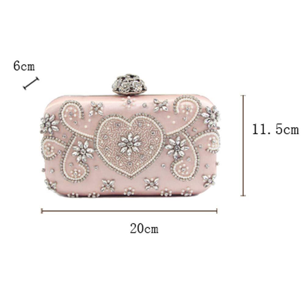Jaiconfiance Women Clutch Glitter Pink Rhinestone Faux Pearl Beaded Clutch Bag for Womens Evening Bag Bridal Wedding Purse Handbag Prom Hand Bag Women Handbags Wedding Clutch Purse