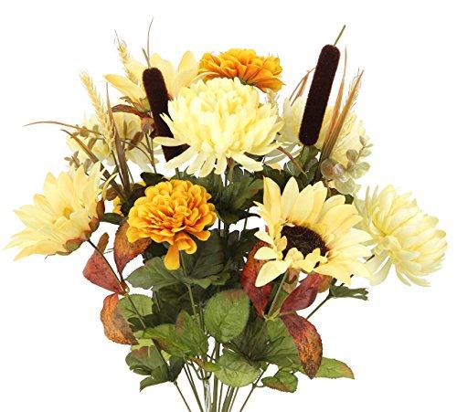 Flowers Fall Arrangement - Admired By Nature GPB6405- GD 18 Stems Home Office/Wedding/Restaurant Decoration Arrangement Artificial Sunflower/Mum/Zinna Mixed Flowers Bush, Butter/Gold