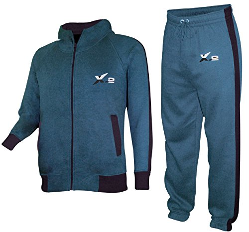 X-2 Mens Athletic Fleece Tracksuit Jogging Sweatsuit Activewear Hooded Top Teal Blue S