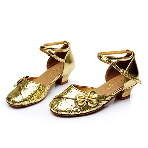 Shoes Samba Dance Onecolor Shoes Girls Strap BYLE Practice Shoes Sandals Modern Dance Ankle Leather Gold Jazz Latin Dance wPFp6qIn
