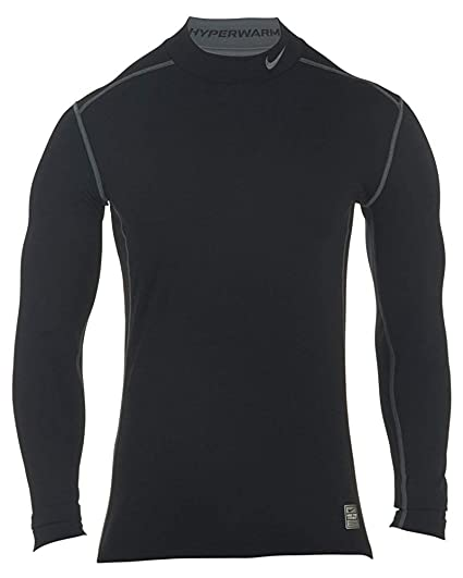 50e0faad Nike Men's Pro Combat Hyperwarm Dri-FIT Max Fitted Shirt Black/Grey Size XX