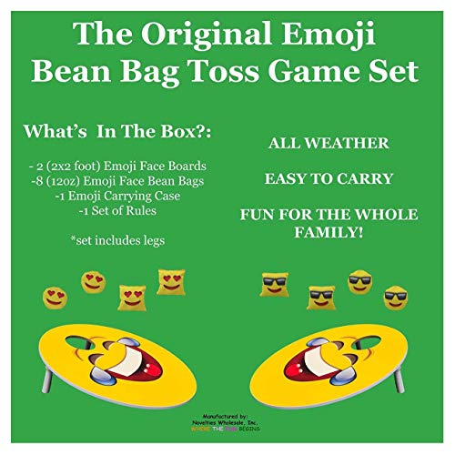 TheGag Cornhole Game for Kids Set-Bean Bag Toss Kids Children Family Party Fun 2 Emoji Boards 8 Emoji Bean Bags Carry Case Great Gift for Easter! Cornhole Indoor/Outdoor by TheGag (Image #6)
