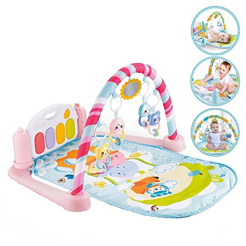 (Christoy Baby Play Gym Kick and Play Mat Newborn Activity Gym Lay & Play 3 in 1 Fitness Music and Lights Fun Piano (Pink))