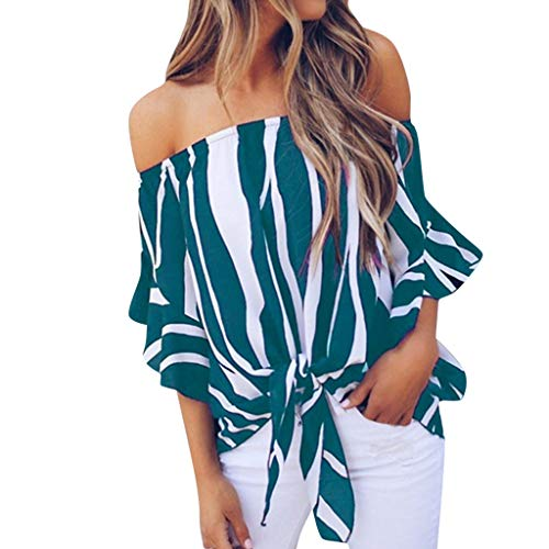 Lloopyting Women's Off The Shoulder Tops Striped Loose Casual Summer T Shirts Hawaiian Lightweight Soft Fitted Short-Sleeve Sky Blue
