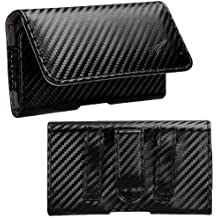 Avarious Executive Leather Pouch Case for Alcatel Flash (2017), 5.5-inch, Carbon Fiber
