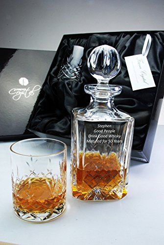 Buckingham Personalised Crystal 3-Piece Square Whisky Decanter Set Forever Crystal
