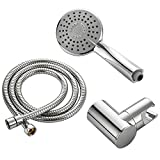 HIMK Handheld Shower Head High Pressure with Powerful Shower Spray against Low Pressure Water Supply Pipeline,3 functions,shower set with Stainless Steel Hose,Adjustable Bracket
