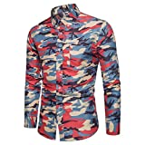 Pervobs Mens Long Shirts, Big Promotion! 2018 Newest Men Casual Long Sleeve Shirts Camouflage Print Formal Pullover Top Blouse (L, Red)