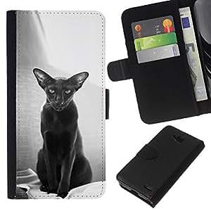 eJoy---La carpeta del tirón la caja de cuero de alta calidad de la PU Caso protector - LG OPTIMUS L90 - --Oriental Havana Shorthair Black Cat