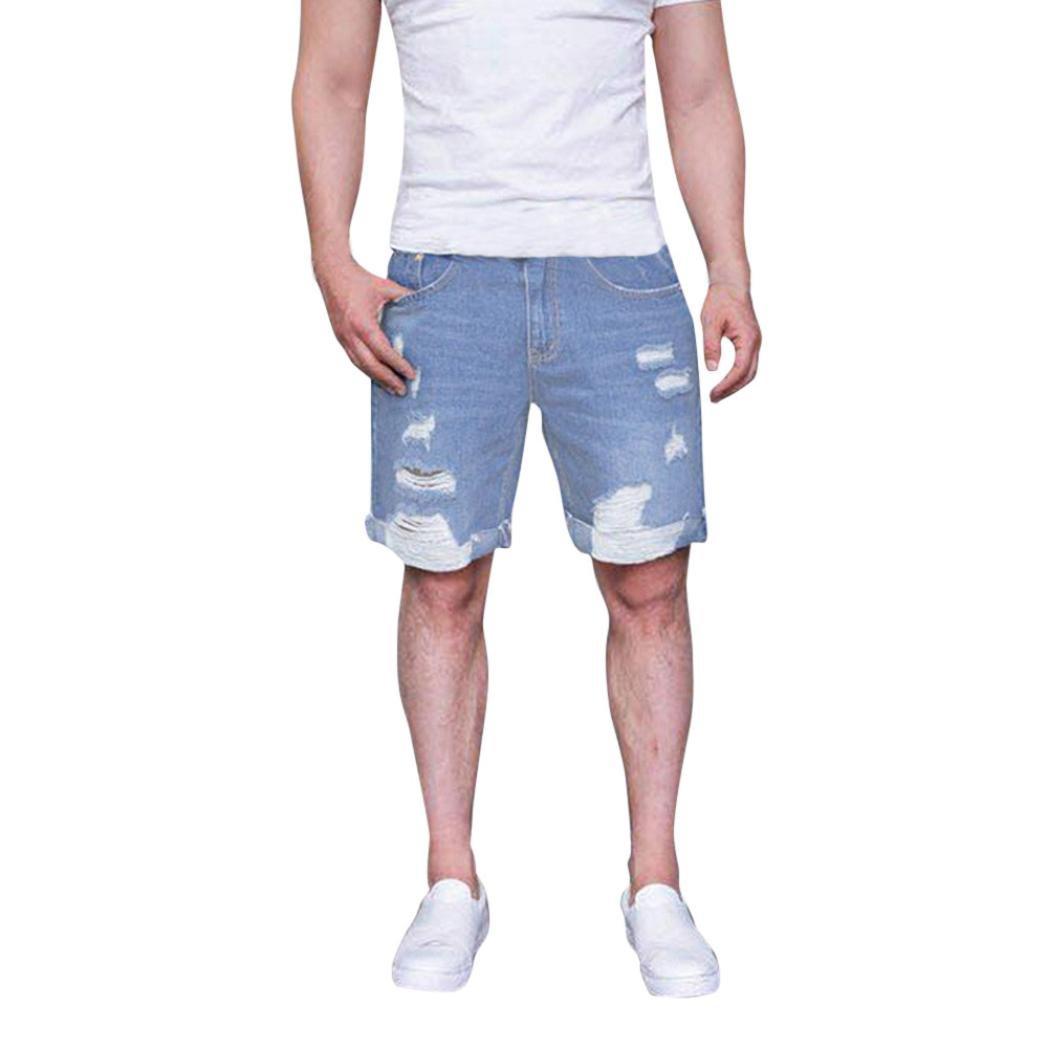 Realdo Men's Casual Short Jeans, Fashion Men's Zipper Frayed Pants Rip Holes Denim Shorts Pants Trousers(Light Blue,XXX-Large)