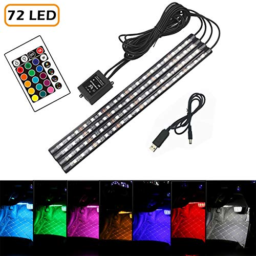 Active Power Control - 16 Color RGB Car LED Strip Light, 4pcs 72 LED Multicolor Music Car Interior Atmosphere Lights Under Dash Lighting Kit, with Sound Active Function, Wireless Remote Control and Smart USB Port