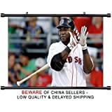 David Ortiz MLB Baseball Superstar Fabric Wall Scroll Poster (32x20) Inches