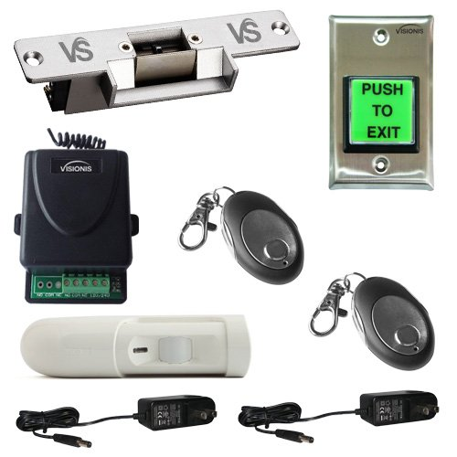 Visionis FPC-5347 One Door Access Control with VIS-EL101-FSA Normaly Closed Electric Strike with Wireless Receiver - Remote and PIR Kit by Visionis