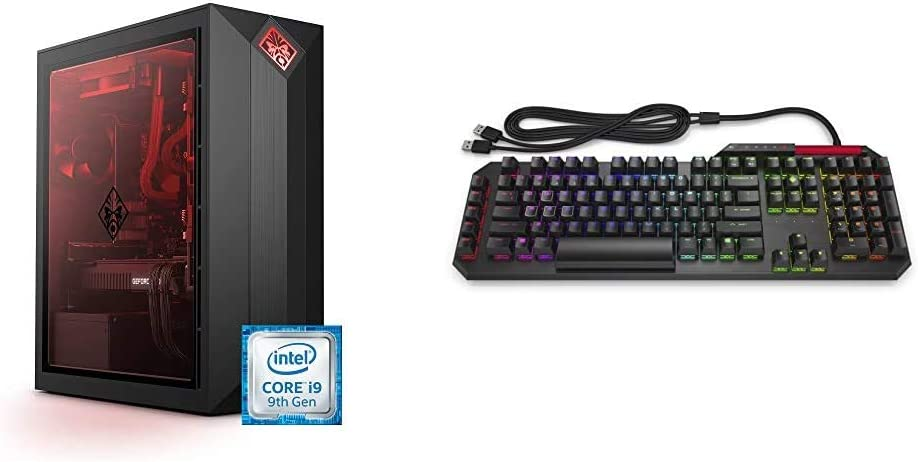 OMEN by HP Obelisk Gaming Desktop Computer, 9th Generation Intel Core i9-9900K Processor & n by HP Sequencer Wired USB Mechanical Optical Gaming Keyboard – 10X Faster – Blue Switch– 16.8M RGB Colors