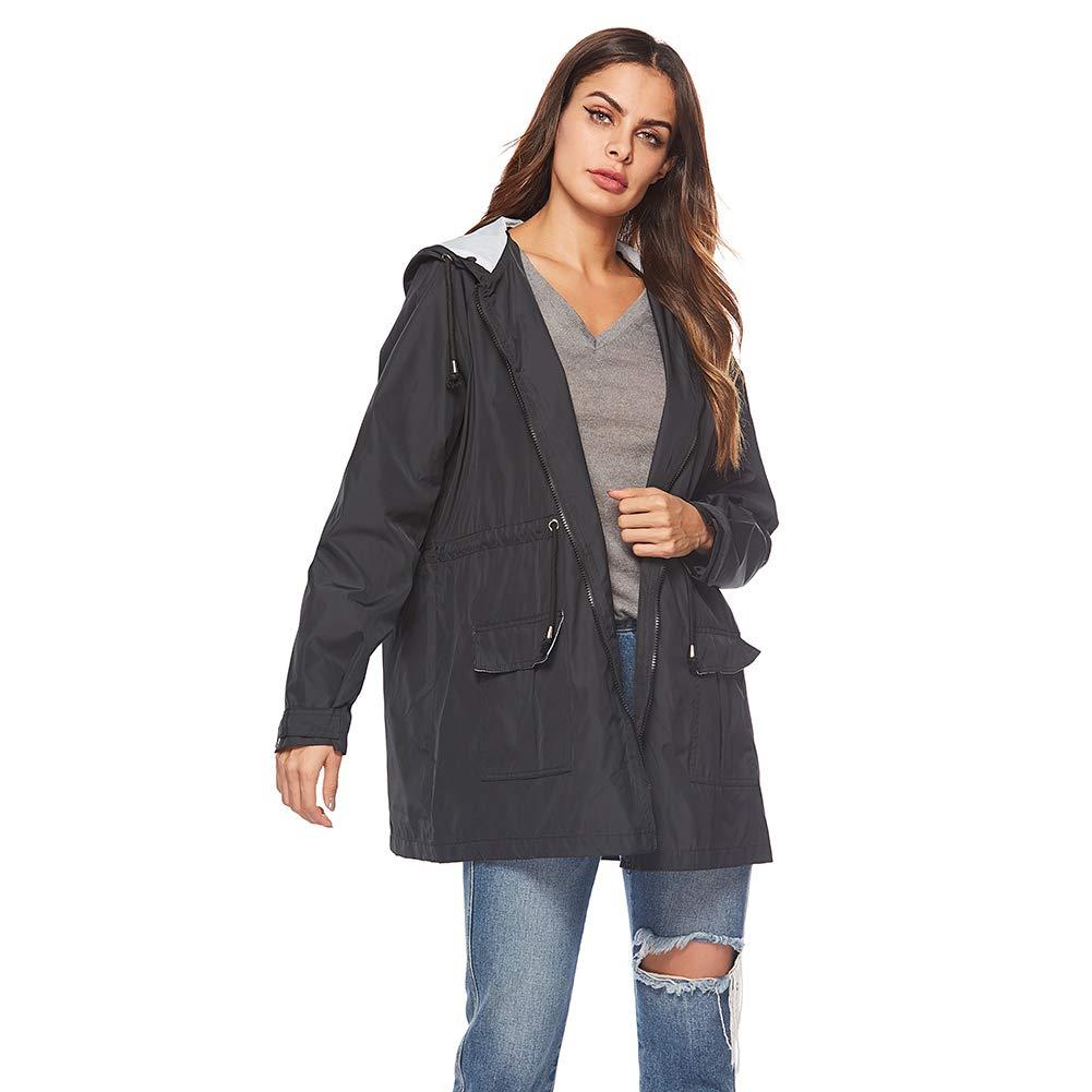 KOERIM Women Lightweight Waterproof Raincoats Hooded Outdoor Hiking Rain Jacket