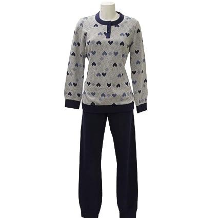 Pijama de invierno para mujer de forro polar estampado azul turquesa 46