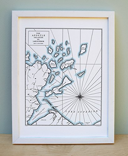 Superior Islands Lake - The Apostle Islands, Wisconsin, Lake Superior Map Unframed Print