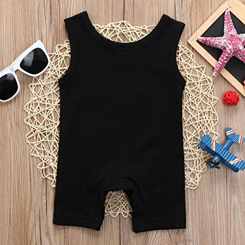 Lisin Newborn Kids Baby Boys Clothes Sleeveless Letter Print Romper Jumpsuit Pajamas