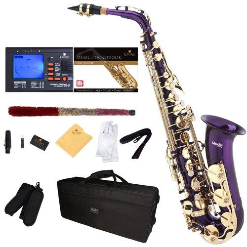 Saxofón alto púrpura  Mendini, boquilla, funda (xmp)