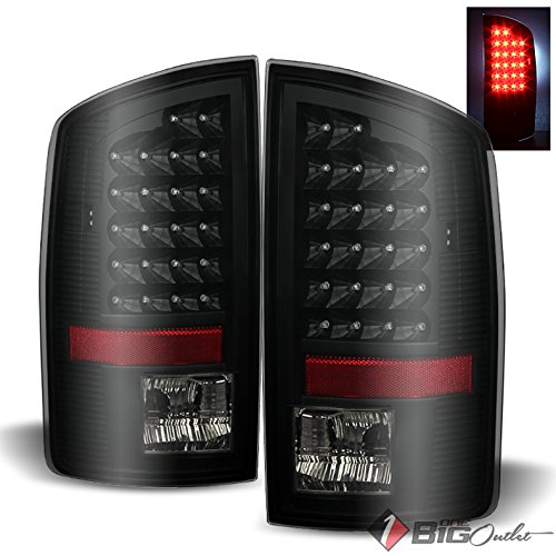 For 2007-2008 Ram 1500, 2007-2009 2/3500 Darkside Black Smoked LED Tail Lights Brake Pair Left+Right (2007 Lights Tail Ram Dodge 2500)