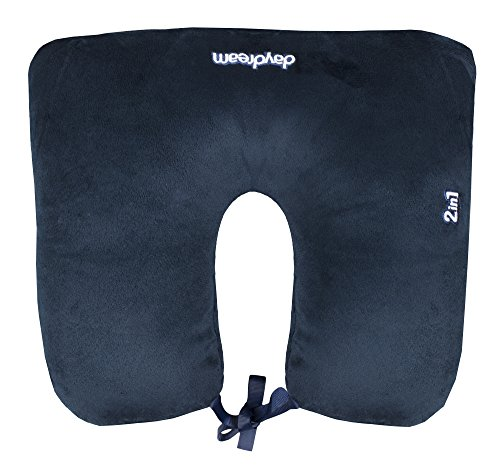 daydream Navy 2-in-1 Travel Neck Pillow with Mircobeads