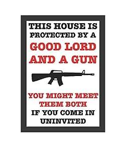 Esta casa es proteger por el buen Señor y una pistola cartel grande 12X 18–aluminio Metal
