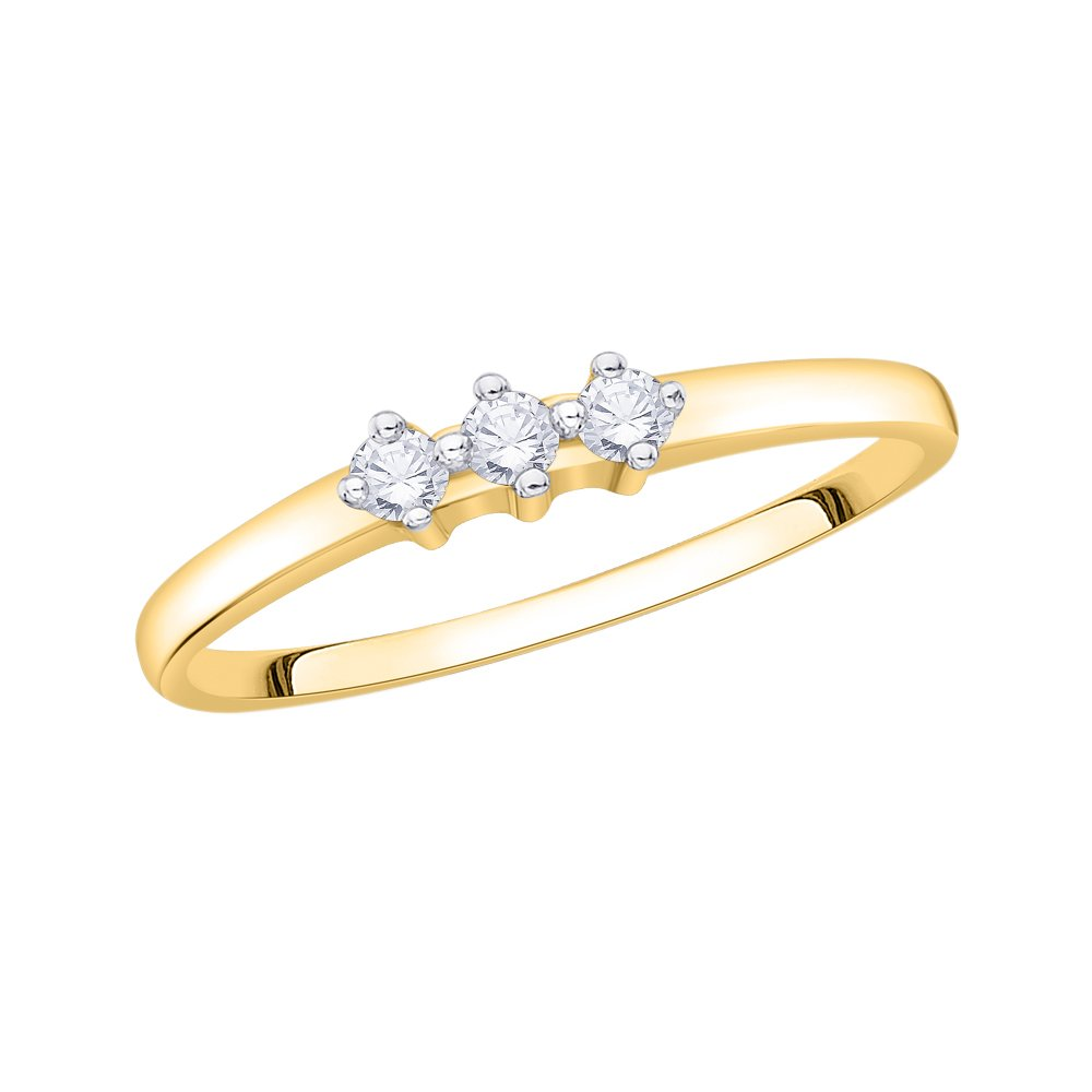 G-H,I2-I3 1//10 cttw, Size-5 3 Diamond Promise Ring in 14K Yellow Gold