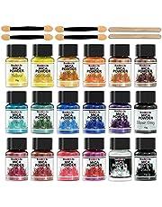 FansArriche Mica poeder - 18 kleuren Glitter epoxyharspigment, natuurlijke zeepkleurstof, metallic poederkleurstof voor het maken van zeep, badbommen, waxmelts maken, nagelkunst (elk 10 g)