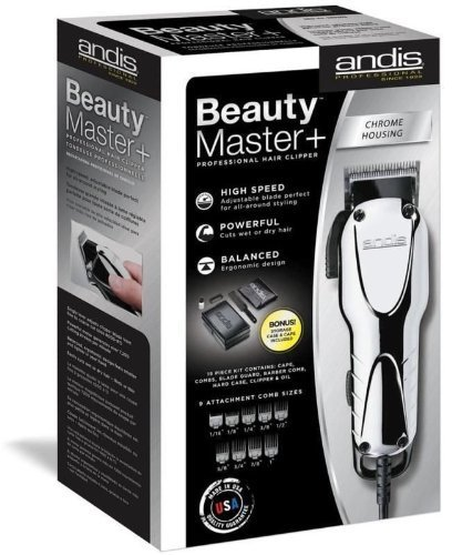 Andis Professional Beauty Master + Plus Hair Clipper Chrome 66360 + Case & Cape Great Quality