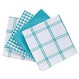 T-fal Textiles - Juego de 4 paños de algodón para Cocina, diseño wafle Plano, Breeze, Brisa, Paquete de 4, 1