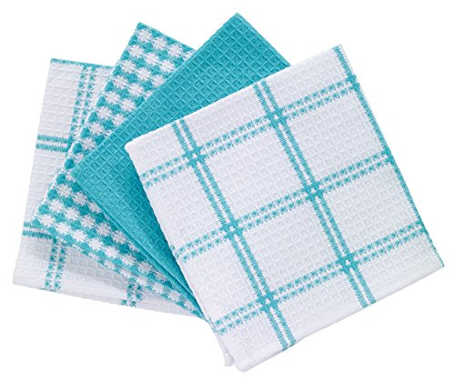 T-fal Textiles 24367 4-Pack Cotton Flat Waffle Dish Cloth, Breeze (Blue Colored Waffle)