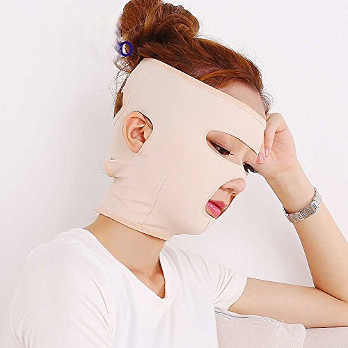 yanQxIzbiu Halloween Costume Full Face Lift Masks Health Care Slimming Facial Double Chin Beauty Bandage Belt Beige (Belt Clays)