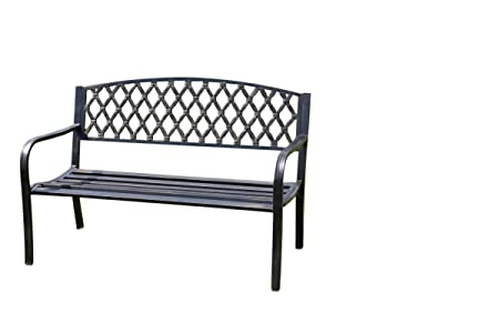 Olive Grove Warwick Metal Garden Bench Complete With Cushion Web