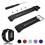 Feskio For Garmin Forerunner 35 GPS Running Watch Replacement Band Strap Accessory Adjustable Soft Silicone Replacement Wrist Watch Strap Band Bracelet with Installation Screwdriver and Lug Adapters