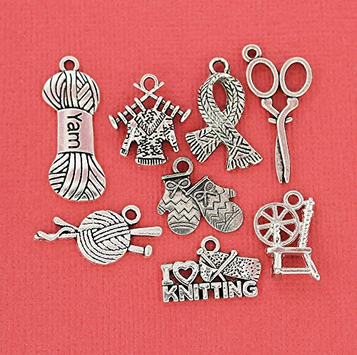 Pendant Jewelry Making for Bracelets and Chains Knitting Charm Collection Antique Silver Tone 8 Different Charms - COL038