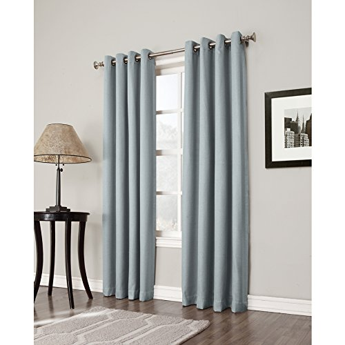 allen + roth 44995 Bandley 84-in Sky Blue Polyester Grommet Blackout Single Curtain Panel